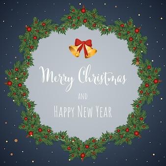 Tarjeta de felicitación de fondo de navidad y año nuevo con ilustración de vector de corona