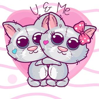 Tarjeta de felicitación gatitos niño y niña sobre un fondo de corazón