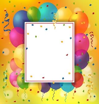 Tarjeta de felicitación, globos y hoja de papel