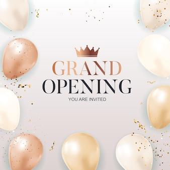 Tarjeta de felicitación de gran inauguración con globos