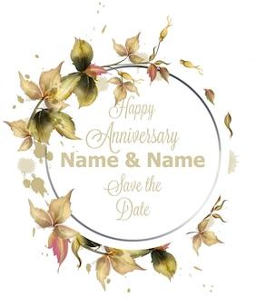 Tarjeta de felicitación guirnalda marco con hojas de otoño