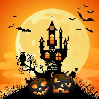 Tarjeta de felicitación de halloween con castillo en el fondo de luna llena, ilustración vectorial