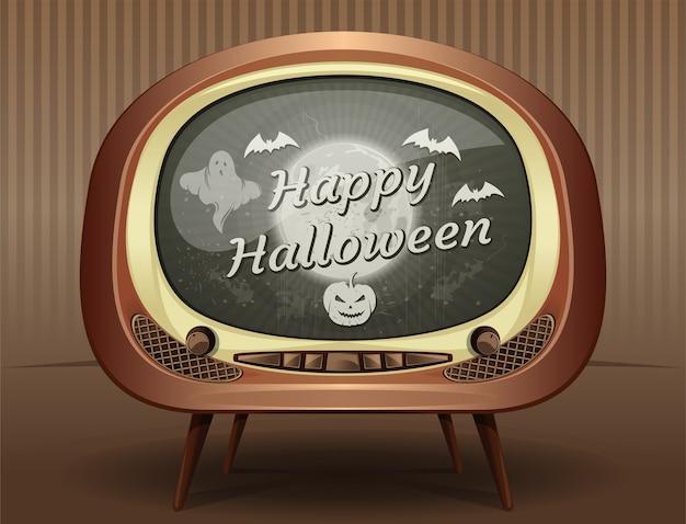 Tarjeta de felicitación de halloween en estilo retro. felicitaciones con halloween en la pantalla de un viejo televisor vintage.