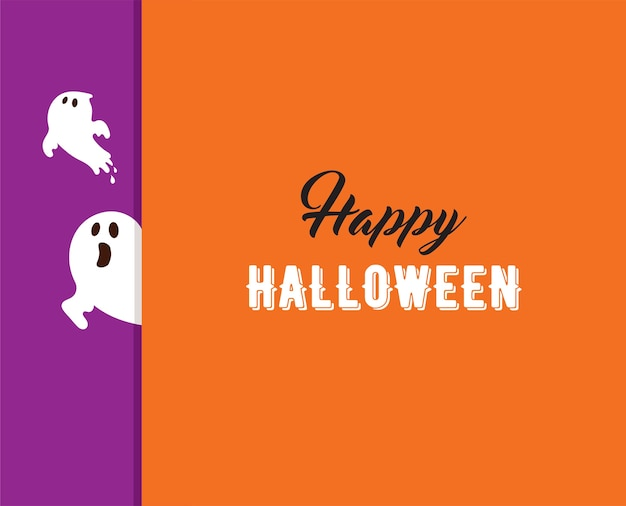Tarjeta de felicitación de halloween con fantasma