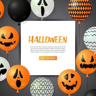 Tarjeta de felicitación de halloween con globos festivos