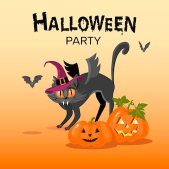 Tarjeta de felicitación de halloween imagen de un gato enojado con alas calabazas murciélagos artoon vector de diseño