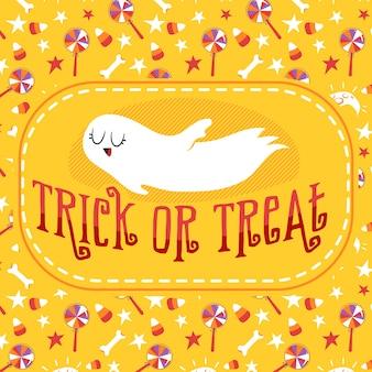 Tarjeta de felicitación de halloween trick or treat ghost