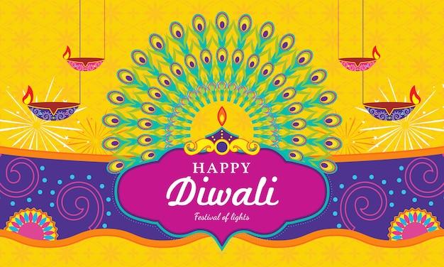 Tarjeta de felicitación happy diwali (festival de la luz)