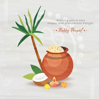 Tarjeta de felicitación happy pongal con arroz pongali en olla de barro