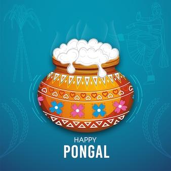Tarjeta de felicitación de happy pongal para la celebración del festival del sur de la india