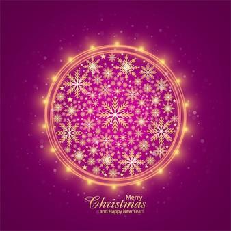 Tarjeta de felicitación hermosa brillante feliz copos de nieve de navidad