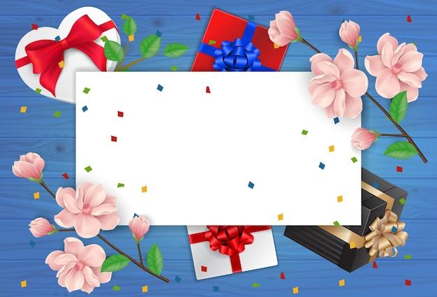 Tarjeta de felicitación y hoja de papel vacía