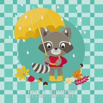 Tarjeta de felicitación hola otoño con lindo personaje de mapache bajo el paraguas ilustración vectorial