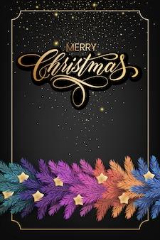 Tarjeta de felicitación holiday's for merry christmas con una guirnalda colorida realista de ramas de pino, decorada con luces de navidad, estrellas doradas, copos de nieve