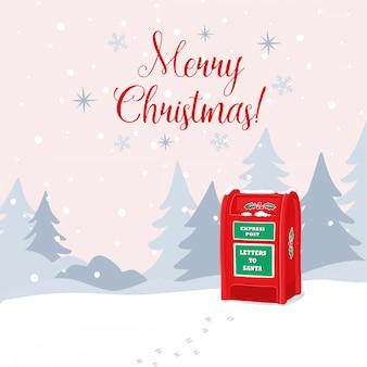 Tarjeta de felicitación de ilustración de feliz navidad con cartas a santa winter