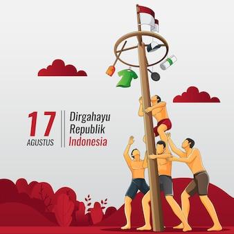 Tarjeta de felicitación de la independencia de indonesia con gente jugando escalada en poste