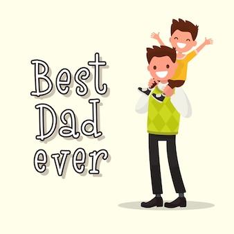 Tarjeta de felicitación de inscripción best dad ever