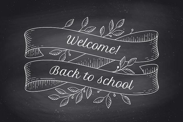 Tarjeta de felicitación con inscripción regreso a la escuela. banners de cinta vintage antiguo con hojas y dibujo en estilo grabado. elemento dibujado a mano. ilustración