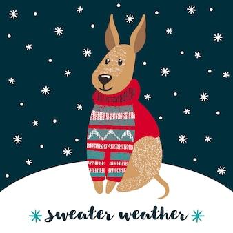 Tarjeta de felicitación de invierno con lindo perro.