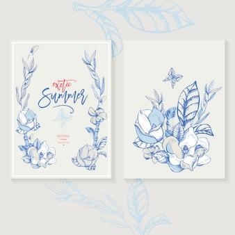 Tarjeta de felicitación de invitación de magnolia de vector