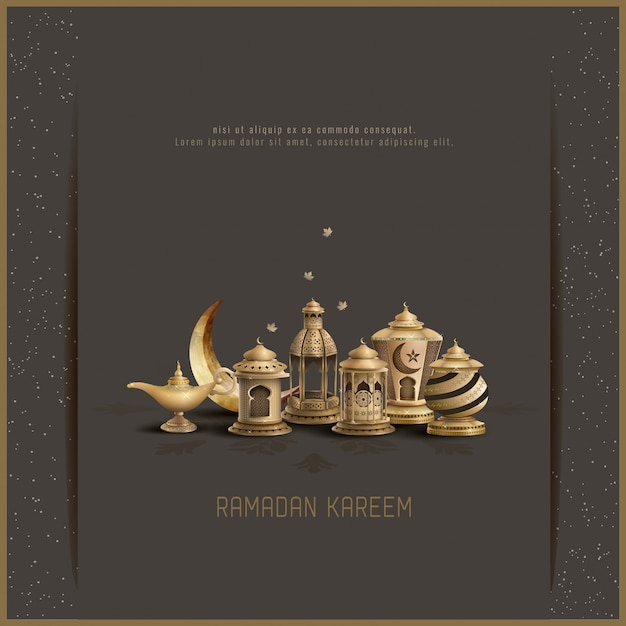 Tarjeta de felicitación islámica diseño ramadan kareem