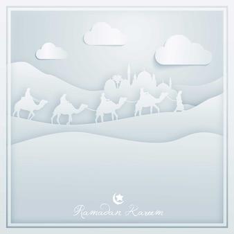 Tarjeta de felicitación islámica del fondo del diseño de ramadan kareem