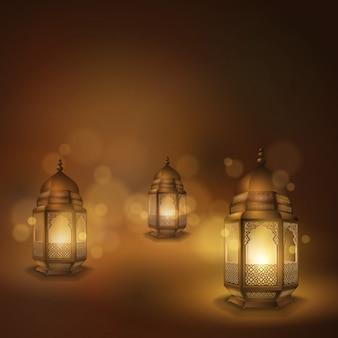 Tarjeta de felicitación islámica vector plantilla de diseño