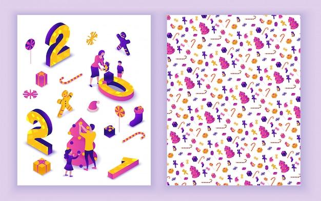 Tarjeta de felicitación isométrica de año nuevo 2021, ilustración 3d, plantilla de impresión de 2 lados, familia celebrando la fiesta de vacaciones de invierno, concepto de evento navideño, padres, gente de dibujos animados juntos, color púrpura