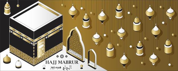 Tarjeta de felicitación isométrica del fondo islámico del hajj mabrur con linternas tradicionales de la kaaba y tr ...