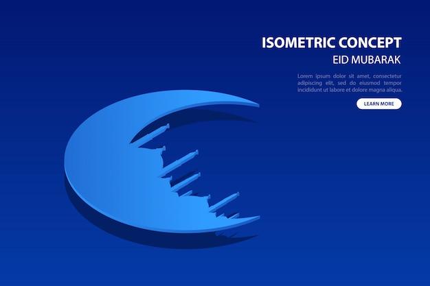 Tarjeta de felicitación isométrica moderna del concepto de la luna y de la mezquita de eid mubarak en fondo azul.