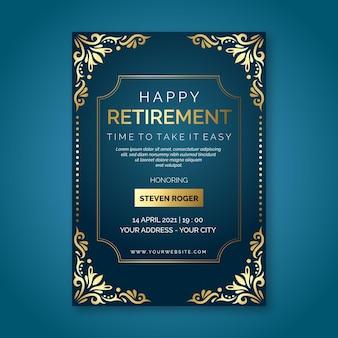 Tarjeta de felicitación de jubilación creativa degradada