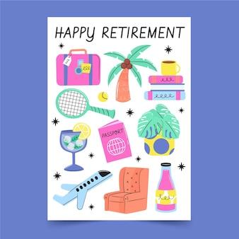 Tarjeta de felicitación de jubilación creativa dibujada a mano