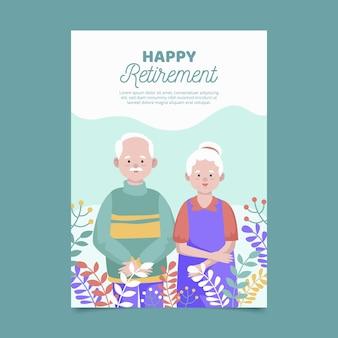 Tarjeta de felicitación de jubilación creativa de diseño plano