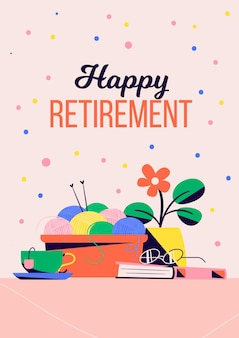 Tarjeta de felicitación de jubilación creativa plana orgánica