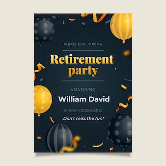 Tarjeta de felicitación de jubilación degradada con elementos dorados