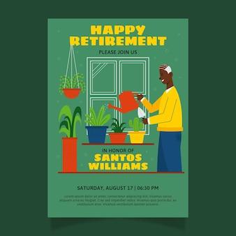 Tarjeta de felicitación de jubilación de diseño plano