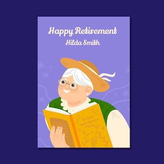 Tarjeta de felicitación de jubilación plana orgánica