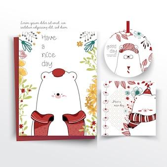 Tarjeta de felicitación con juego de oso;