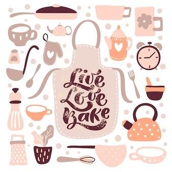 Tarjeta de felicitación con letras de caligrafía live love bake y utensilios de cocina