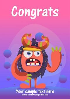 Tarjeta de felicitación linda del congrats del monstruo