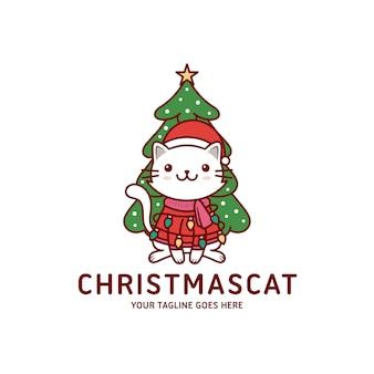 Tarjeta de felicitación linda del gato de navidad