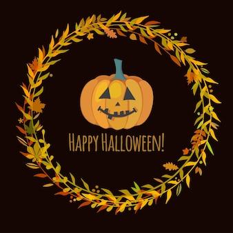 Tarjeta de felicitación linda para halloween con calabaza sonriente, ilustración vectorial