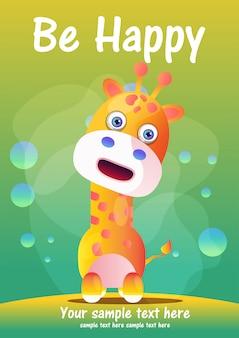 Tarjeta de felicitación linda jirafa dibujos animados