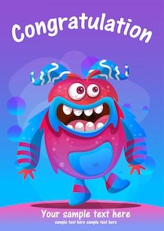 Tarjeta de felicitación linda del monstruo felicitaciones