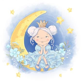 Tarjeta de felicitación linda princesa de dibujos animados en la luna con una corona brillante y flores de luna