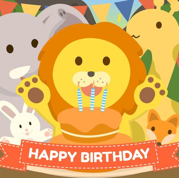 Tarjeta de felicitación linda de la torta de cumpleaños del zoológico con el tema de los animales del zorro girrafe del elefante del conejo del león