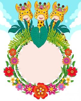 Tarjeta de felicitación de lindas jirafas y flores.