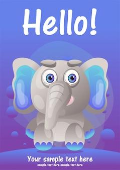Tarjeta de felicitación lindo elefante de dibujos animados