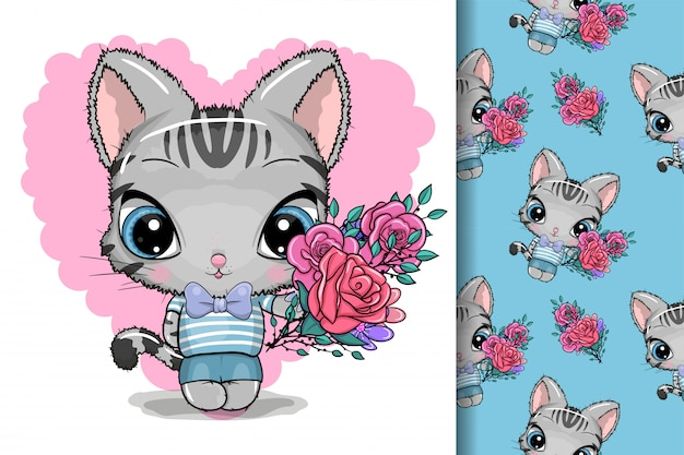 Tarjeta de felicitación lindo gatito con flores