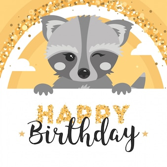 Tarjeta de felicitación con lindo mapache feliz cumpleaños.